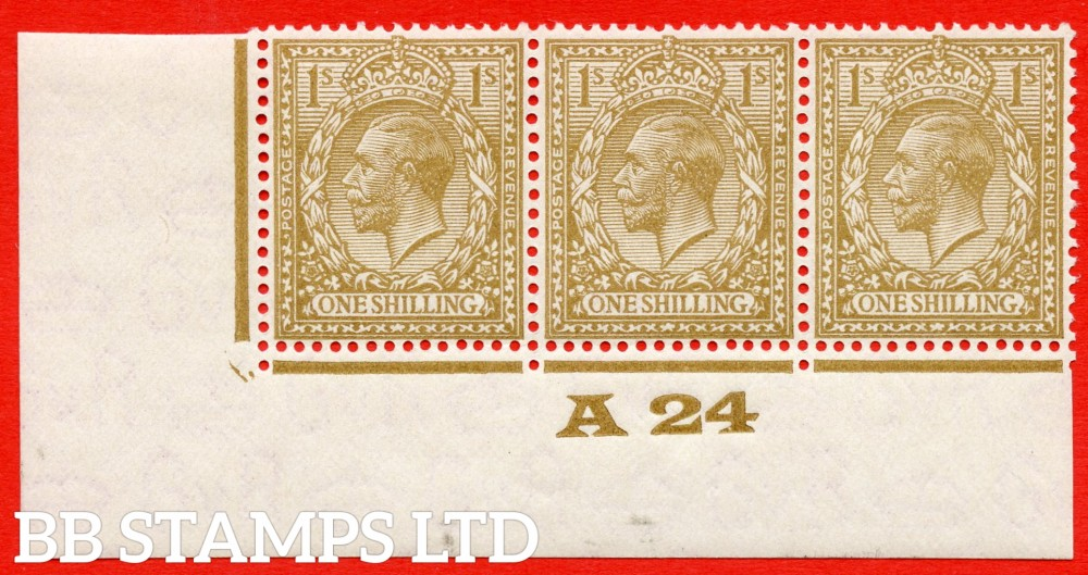 """SG. 429 variety N45 (3). 1/- pale buff brown. A very fine mounted mint control """" A24 imperf """" strip of 3. Perf type 2."""