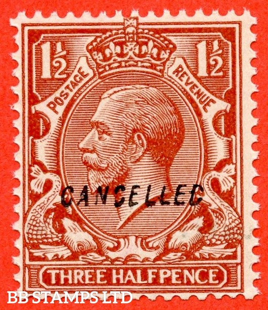 "SG. 420 variety  N35 (4) w. 1½d chestnut. Overprinted "" CANCELLED "" type 28. A superb UNMOUNTED MINT example."