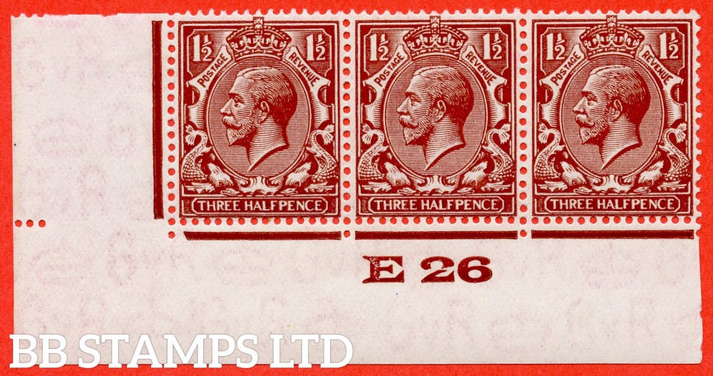 "SG. 420 variety N35 (UNLISTED).  1½d very deep red brown. A very fine UNMOUNTED MINT control "" E26 imperf "" strip of 3 of this known but unlisted by SG. George V shade variety. Complete with Hendon certificate."