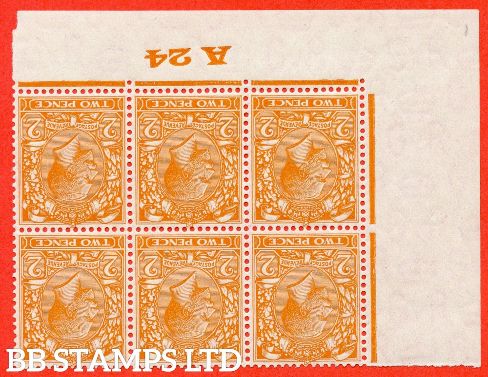 "SG. 421 wi. N36 (1) b. 2d Orange.  INVERTED WATERMARK. A super totally UNMOUNTED MINT control "" A24 imperf "" block of 6."