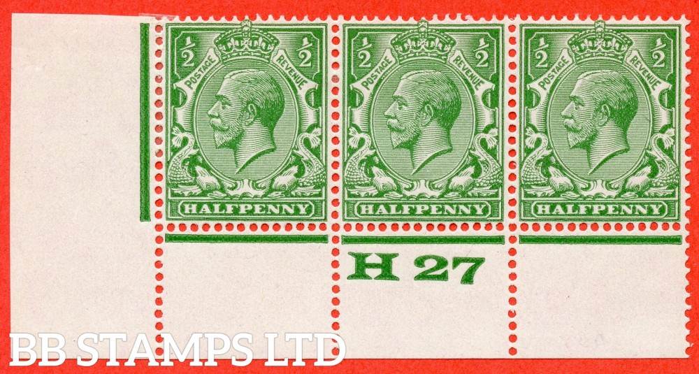 """SG. 418. Variety N 33 (UNLISTED). ½d bright yellow green. A SUPERB UNMOUNTED MINT control """" H27 perf """" strip of 3 with the scarce perf type 3A."""