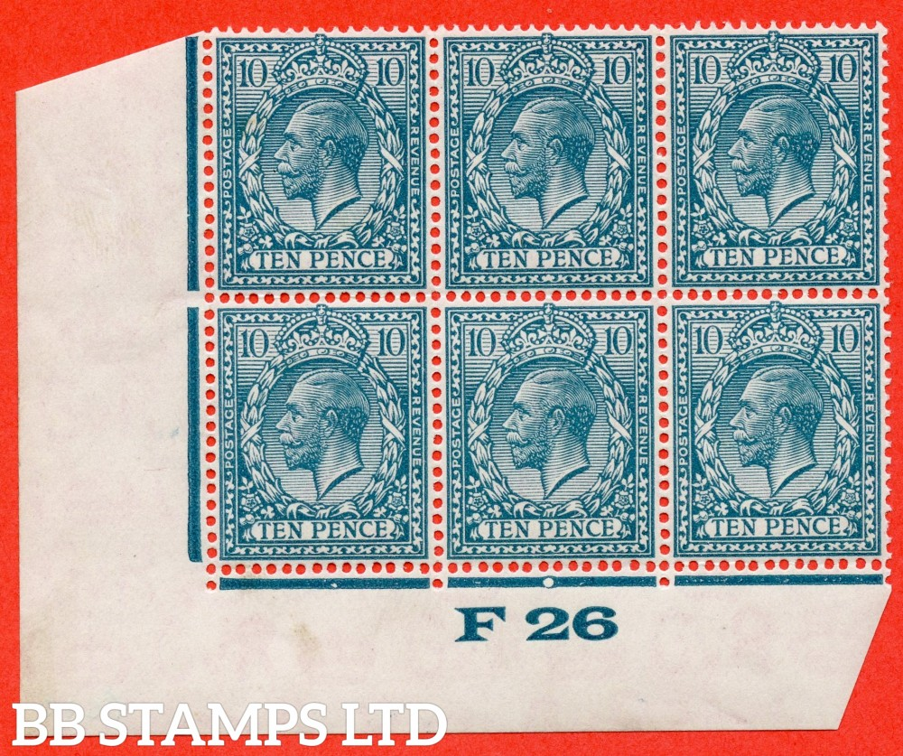 """SG. 428. N44 (1). 10d Turquoise Blue. A superb totally UNMOUNTED MINT control """" F26 imperf """" block of 6. Plate 1c and perf type 2."""