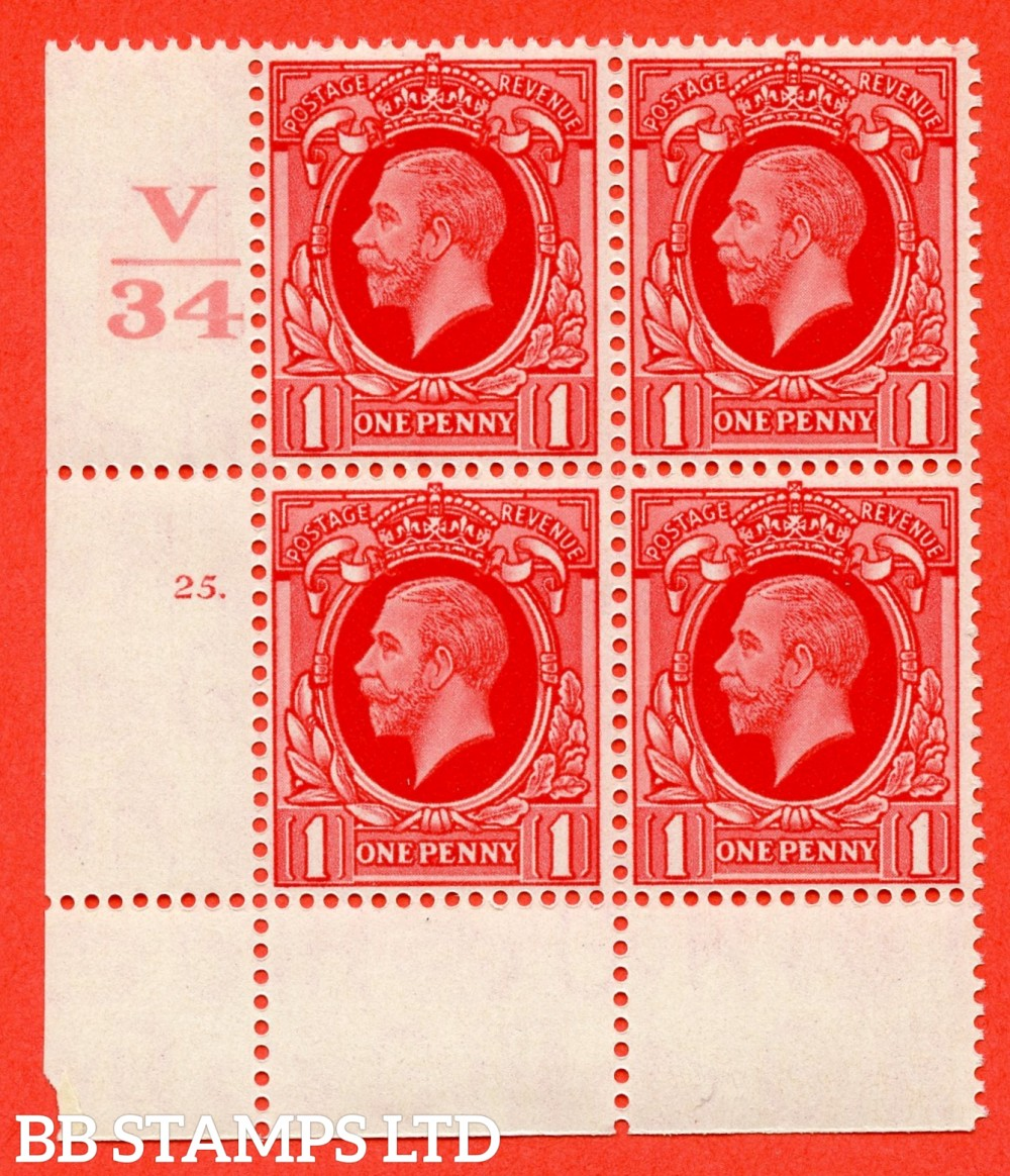 "SG. 440 variety N49. 1d scarlet.. A superb UNMOUNTED MINT "" Control V34 cylinder 25 dot "" block of 4 with perf type 2A (P/P)."