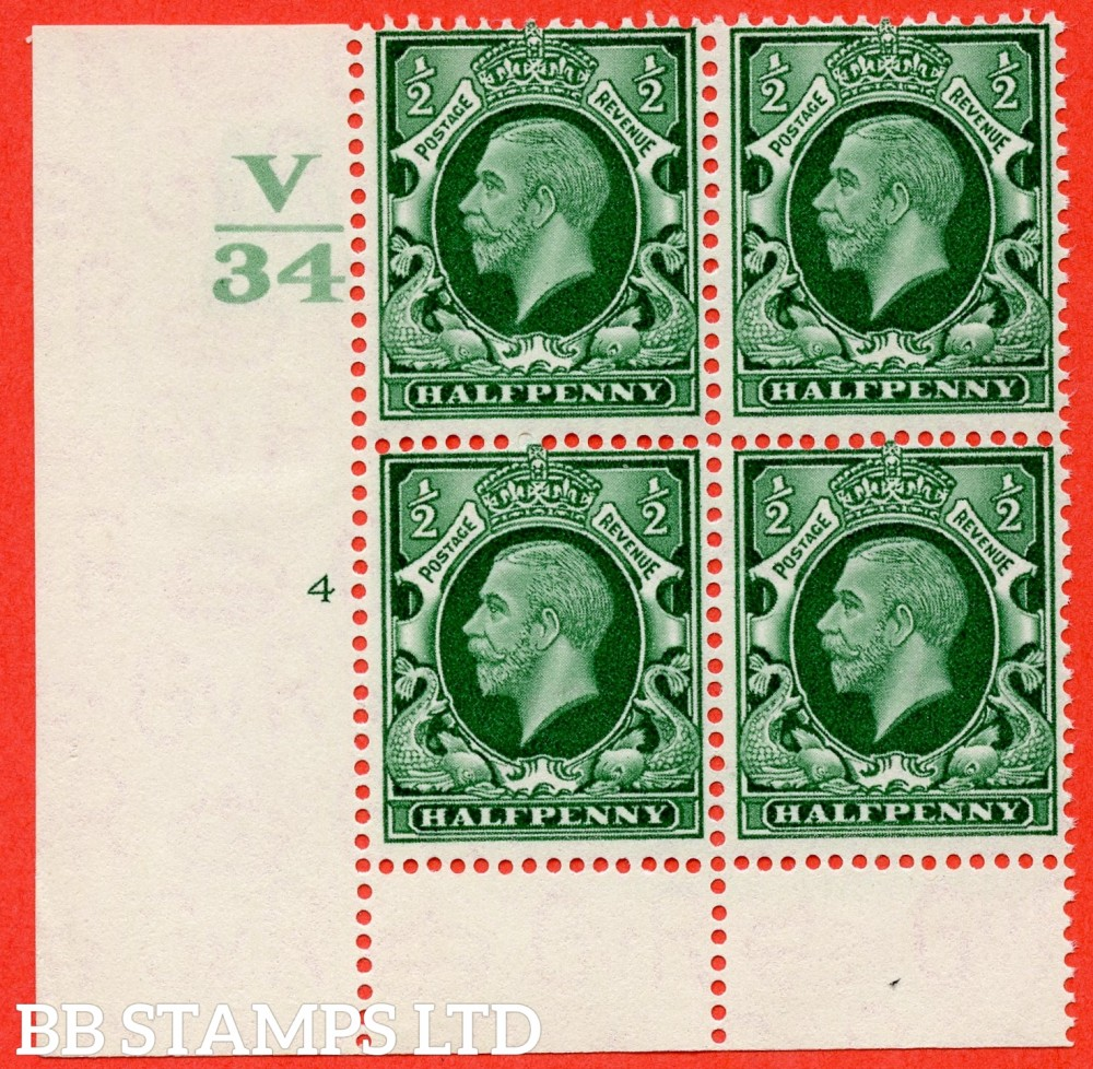 "SG. 439 variety N46 ½d. Green. A fine lightly mounted mint "" Control V34 cylinder 4 no dot "" control block of 4 with perf type 6 (I/P)."
