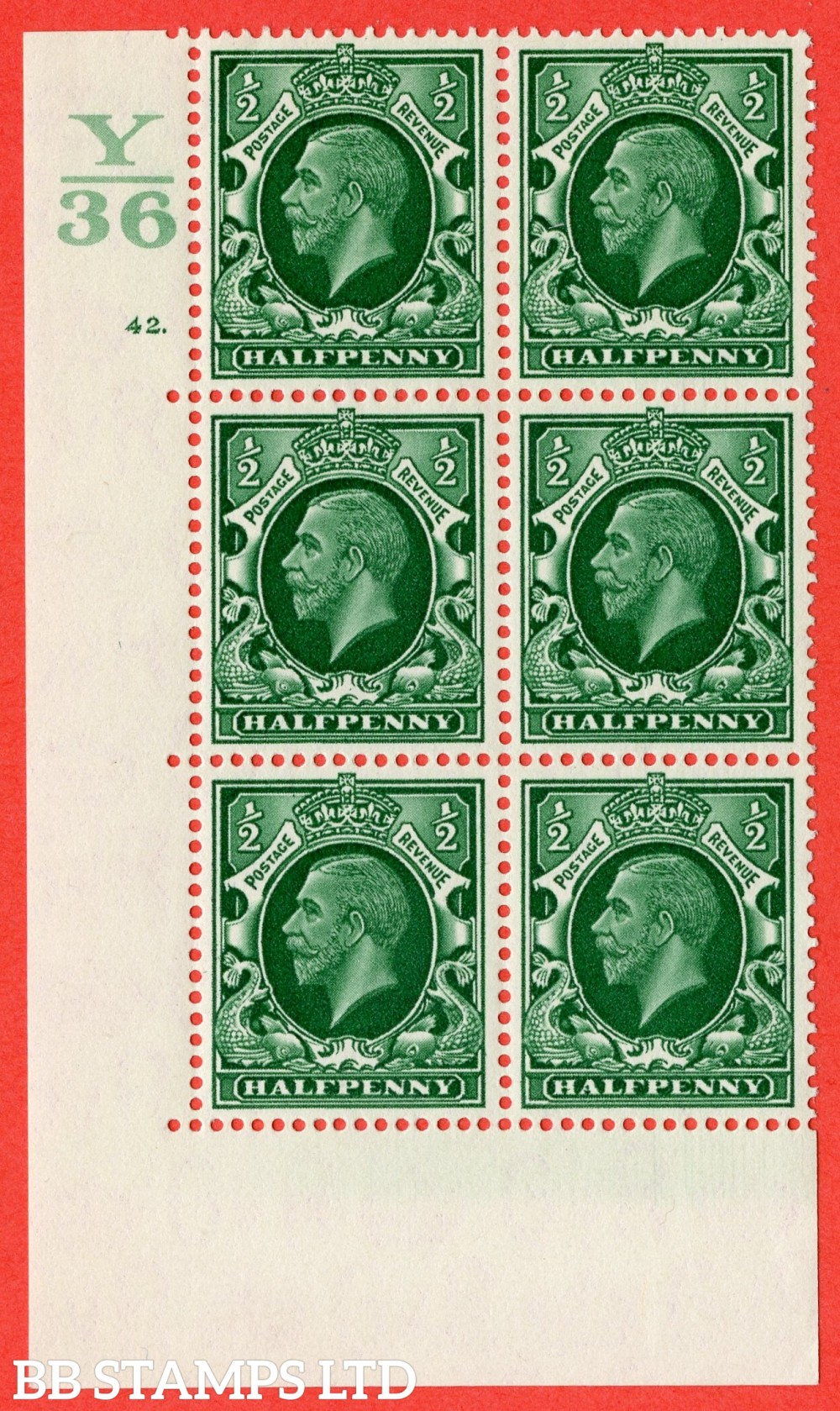 "SG. 439 variety N46 ½d. Green. A superb UNMOUNTED MINT "" Control Y36 cylinder 42 dot "" control block of 6 with perf type 5 (E/I)."