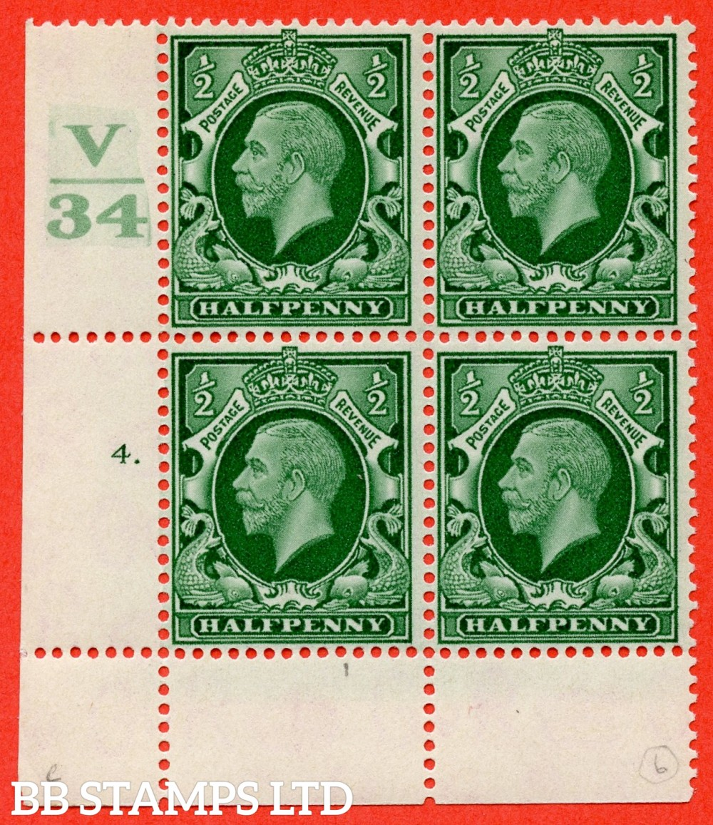 "SG. 439 variety N46 ½d. Green. A fine lightly mounted mint "" Control V34 cylinder 4 dot "" control block of 4 with perf type 2A (P/P)."