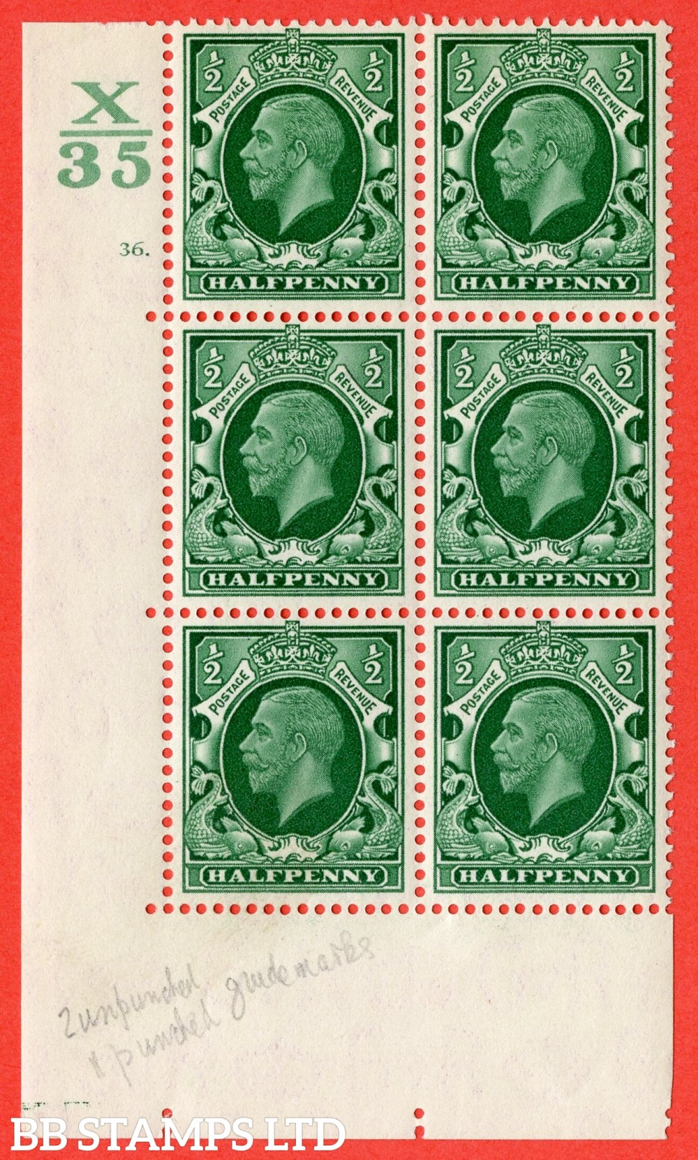 "SG. 439 variety N46 ½d. Green. A fine lightly mounted mint "" Control X35 cylinder 36 dot "" control block of 6 with perf type 5 (E/I)."