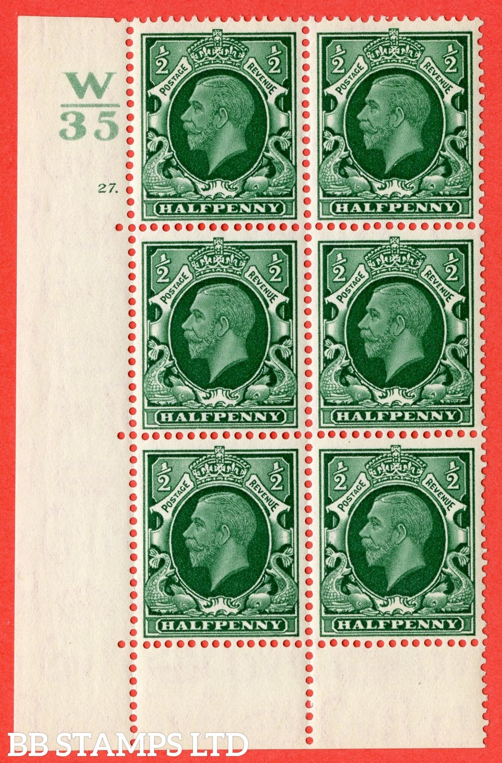 "SG. 439 variety N46 ½d. Green. A superb UNMOUNTED MINT "" Control W35 cylinder 27 dot "" control block of 6 with perf type 6B (E/P)."