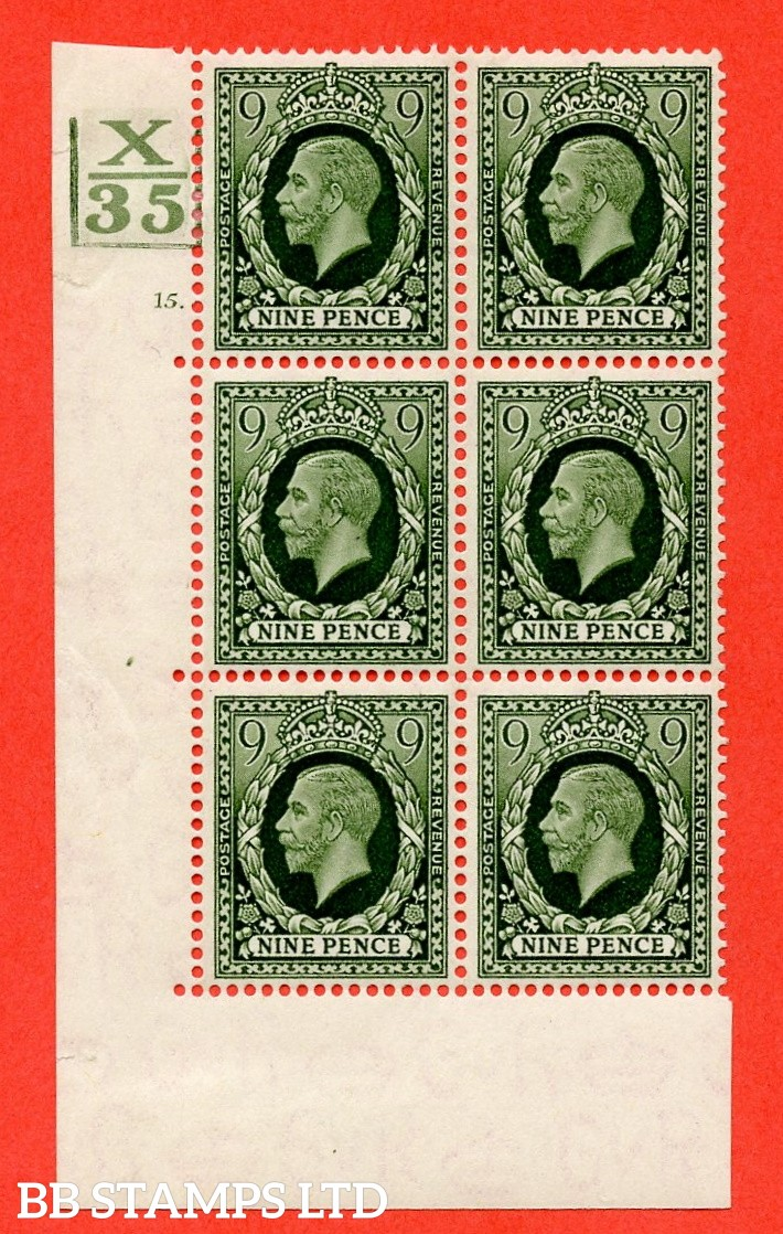"""SG. 447. N60. 9d Deep Olive-Green. A fine mounted mint. """" Control X35. 2 Bars. Cylinder 15 dot """"  block of 6 perf type 5 (E/I)."""
