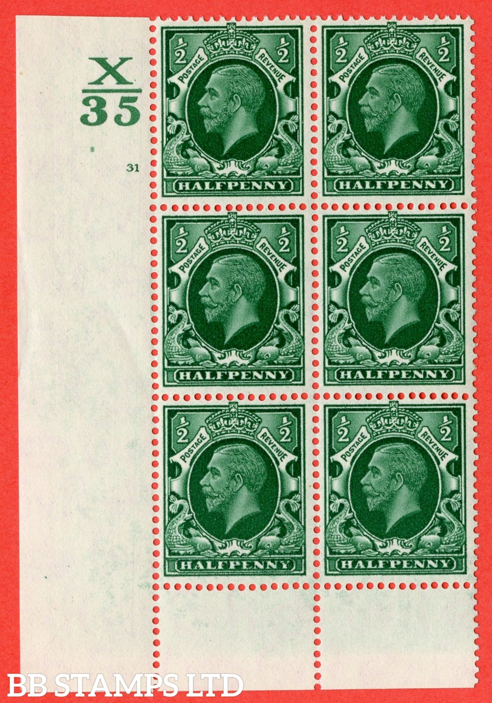 "SG. 439 variety N46 ½d. Green. A superb UNMOUNTED MINT "" Control X35 cylinder 31 no dot "" control block of 6 with perf type 6 (I/P)."