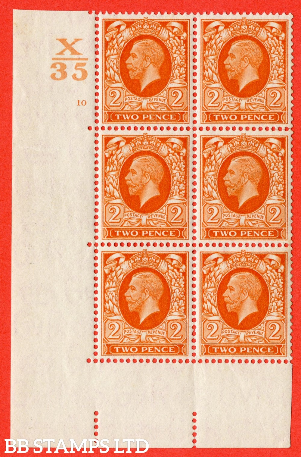 """SG. 442. N55. d. 2d. Orange. A superb UNMOUNTED MINT """" Control X35 cylinder 10 no dot """" control block of 6 with perf type 5 (E/I)"""