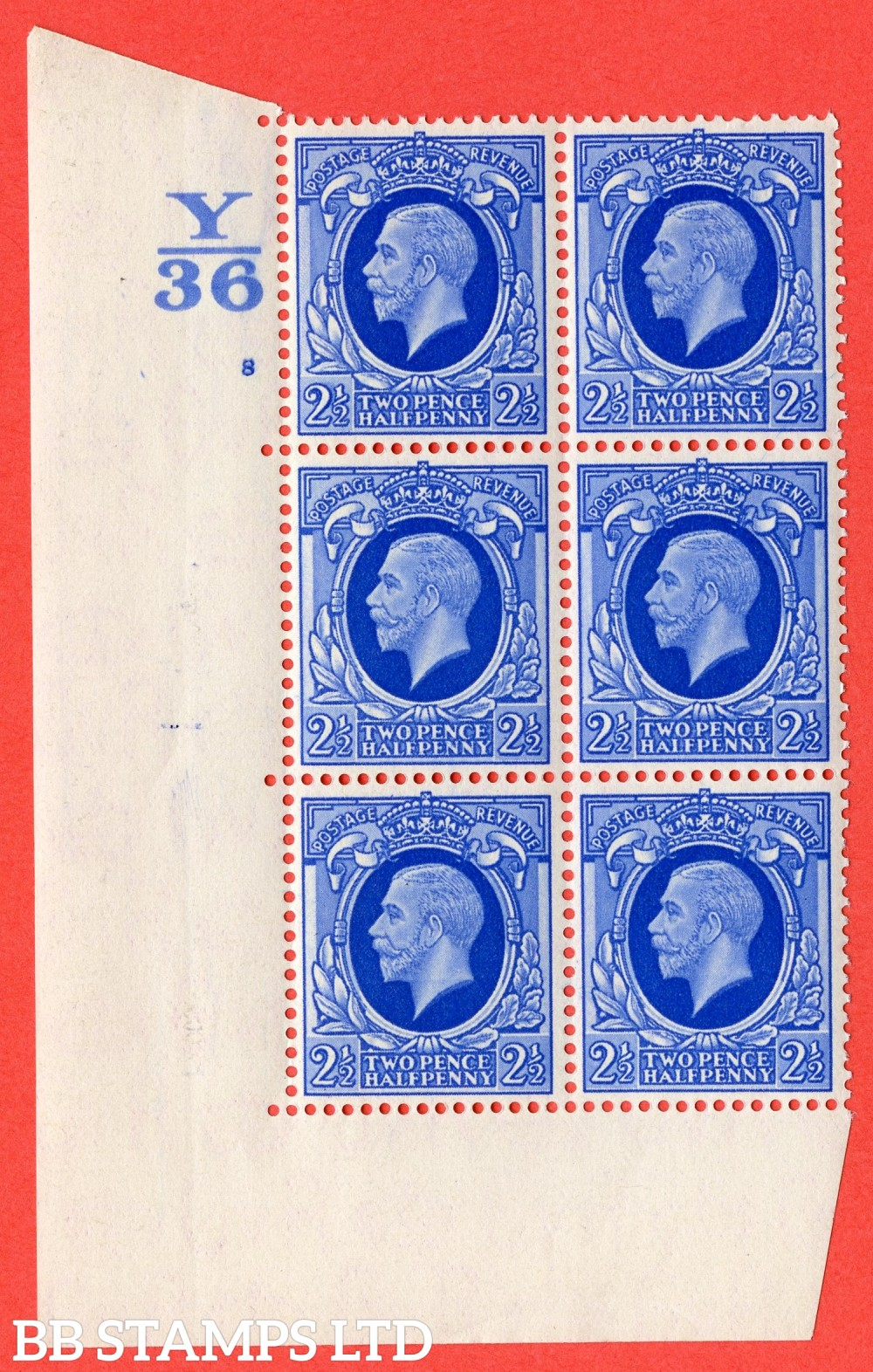 "SG. 443 a. variety N56. 2½d Blue. A superb UNMOUNTED MINT block of 6. Control Y36. Cylinder 8 no dot perf type 5 E/I with listed vaiety "" Retouched Panel "" Row 18/1"
