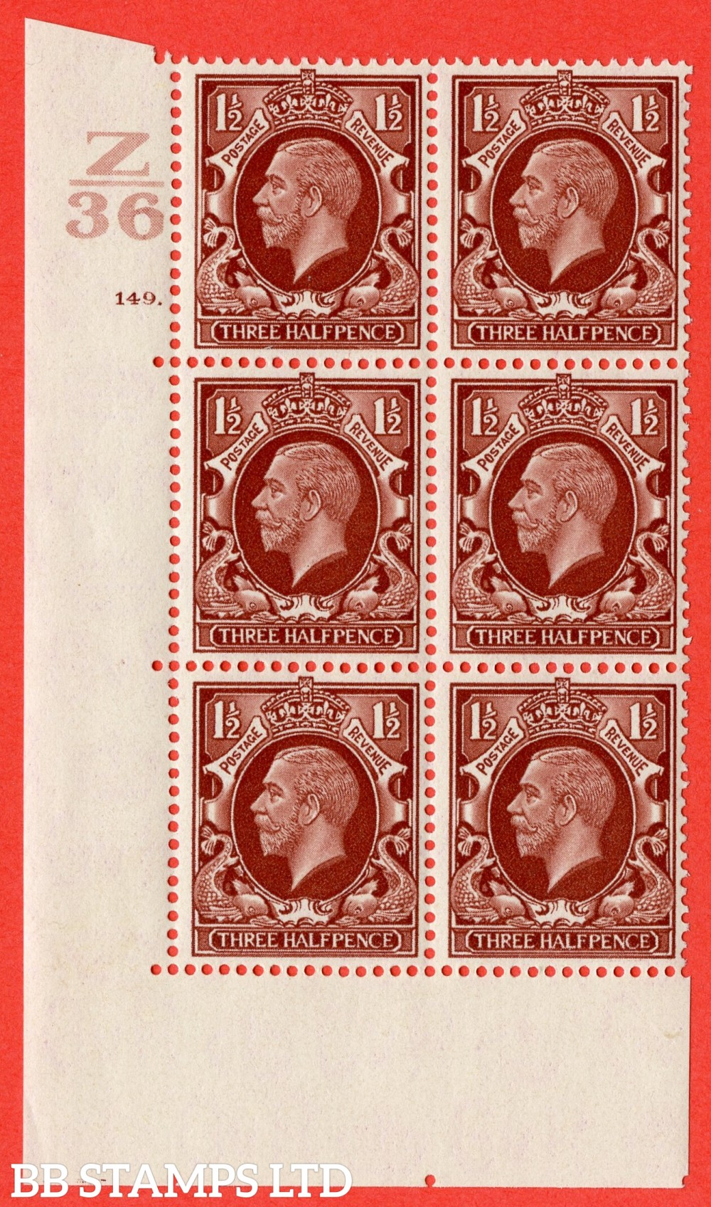 "SG. 441 variety N53. 1½d Red-Brown. A superb UNMOUNTED MINT "" Control Z36 cylinder 149 dot "" control block of 6 with perf type 6B (I/P)."
