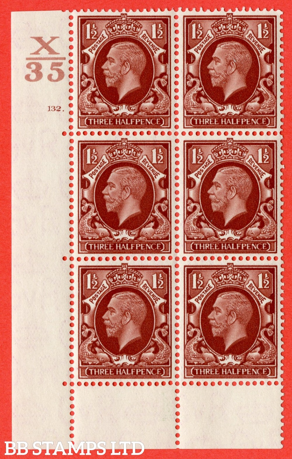 "SG. 441 variety N53. 1½d Red-Brown. A superb UNMOUNTED MINT "" Control X35 cylinder 132 dot "" control block of 6 with perf type 6B (E/P)."