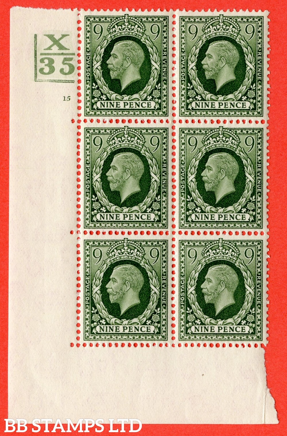 """SG. 447. N60. 9d Deep Olive-Green. A fine mounted mint. """" Control X35. 2 Bars. Cylinder 15 no dot """"  block of 6 perf type 5 (E/I)."""