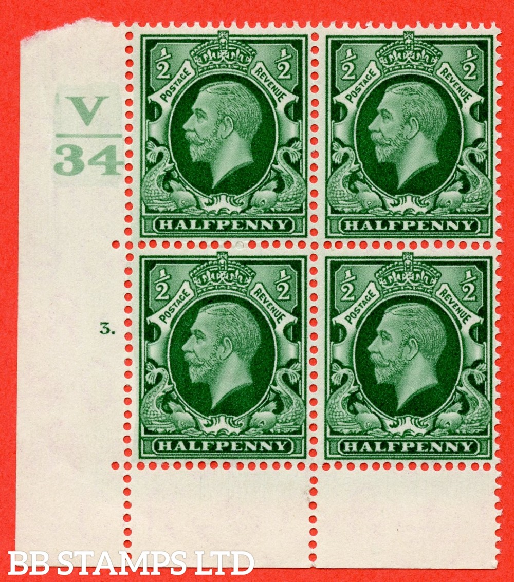 "SG. 439 variety N46 ½d. Green. A superb UNMOUNTED MINT "" Control V34 cylinder 3 dot "" control block of 4 with perf type 6B (E/P)."