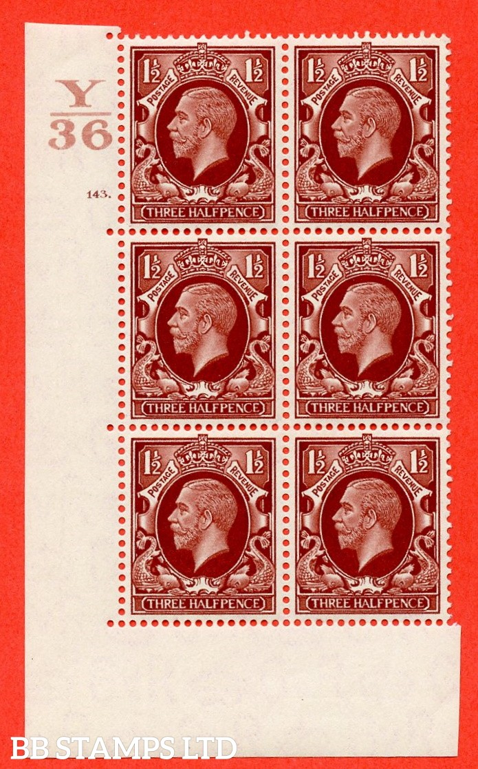 "SG. 441. N53. 1½d. Red-Brown. A superb UNMOUNTED MINT "" Control Y36 cylinder 143 dot "" control block of 6 with perf type 5 E/I"