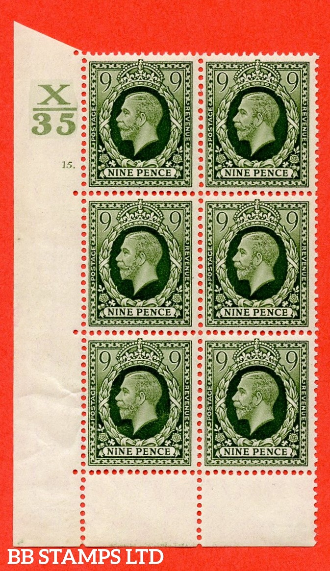 SG. 447. N60. 9d Deep Olive-Green. A fine mounted mint block of 6. Control X35. Cylinder 15 No Dot perf type 6B E/P.