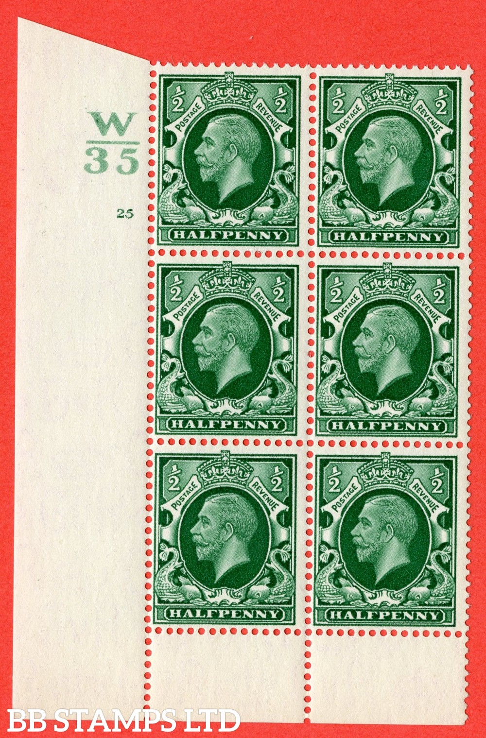 "SG. 439 variety N46 ½d. Green. A superb UNMOUNTED MINT "" Control W35 cylinder 22 no dot "" control block of 6 with perf type 6 (I/P)."
