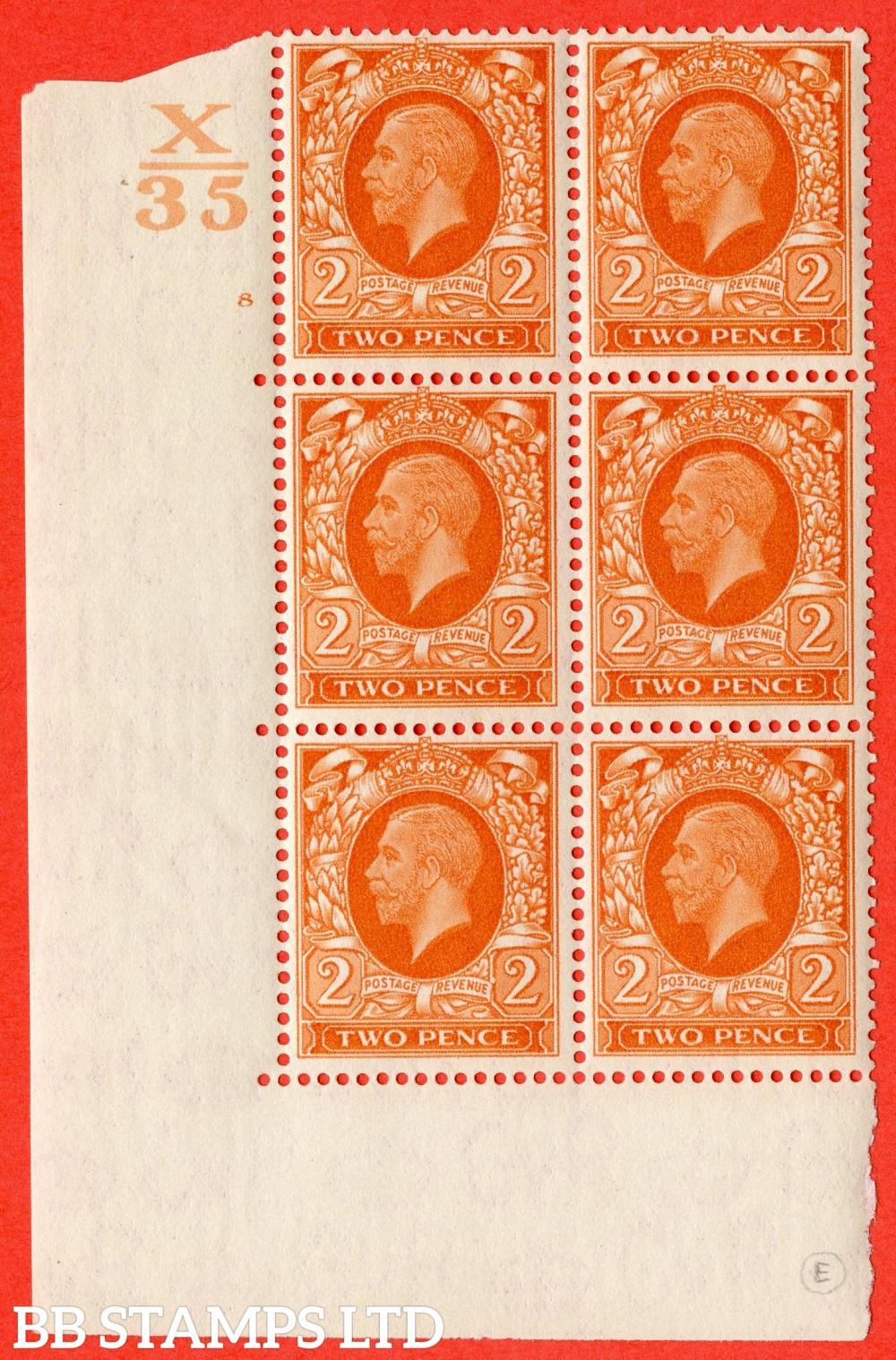 """SG. 442. N55. d. 2d. Orange. A fine mounted mint  """" Control X35 cylinder 8 no dot """" control block of 6 with perf type 5 (E/I) with listed variety """" broken value tablet row 20/1 """""""
