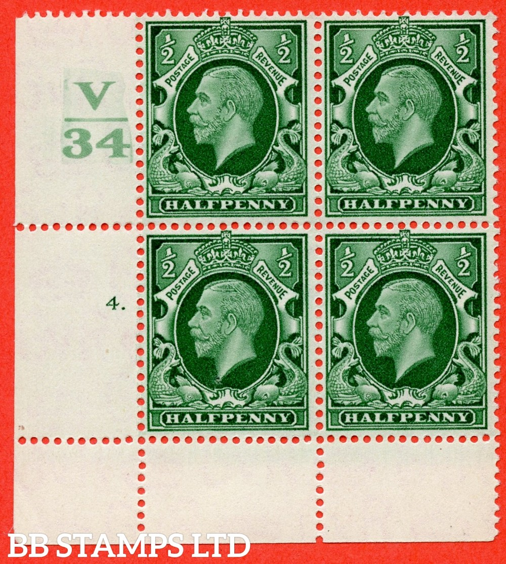 "SG. 439 variety N46 ½d. Green. A superb UNMOUNTED MINT "" Control V34 cylinder 4 dot "" control block of 4 with perf type 2A (P/P)."