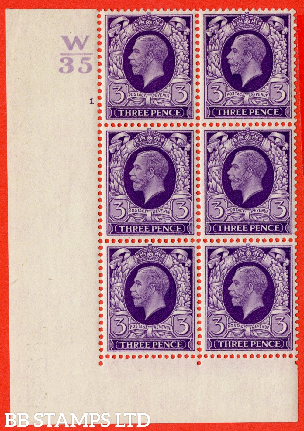 "SG. 444. N57. 3d Violet. A superb UNMOUNTED MINT "" Control Z36. Cylinder 1 no dot "" block of 6 perf type 2 (I/E)."