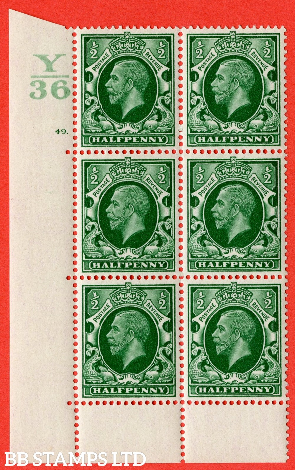 "SG. 439 variety N46 ½d. Green. A superb UNMOUNTED MINT "" Control Y36 cylinder 49 dot "" control block of 6 with perf type 6B (E/P)."