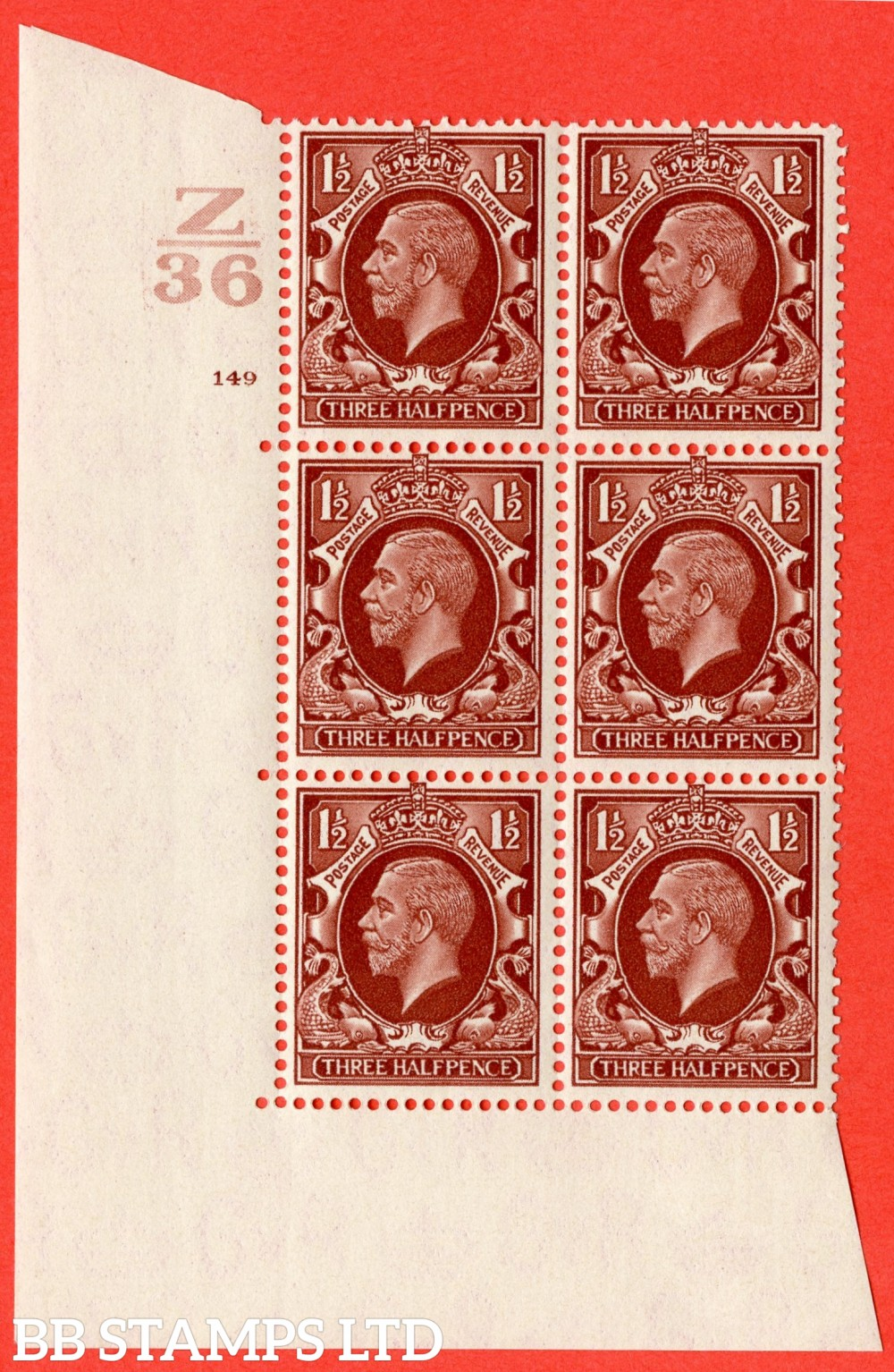 "SG. 441 variety N53. 1½d Red-Brown. A superb UNMOUNTED MINT "" Control Z36 cylinder 149 no dot "" control block of 6 with perf type 5 (E/I)."