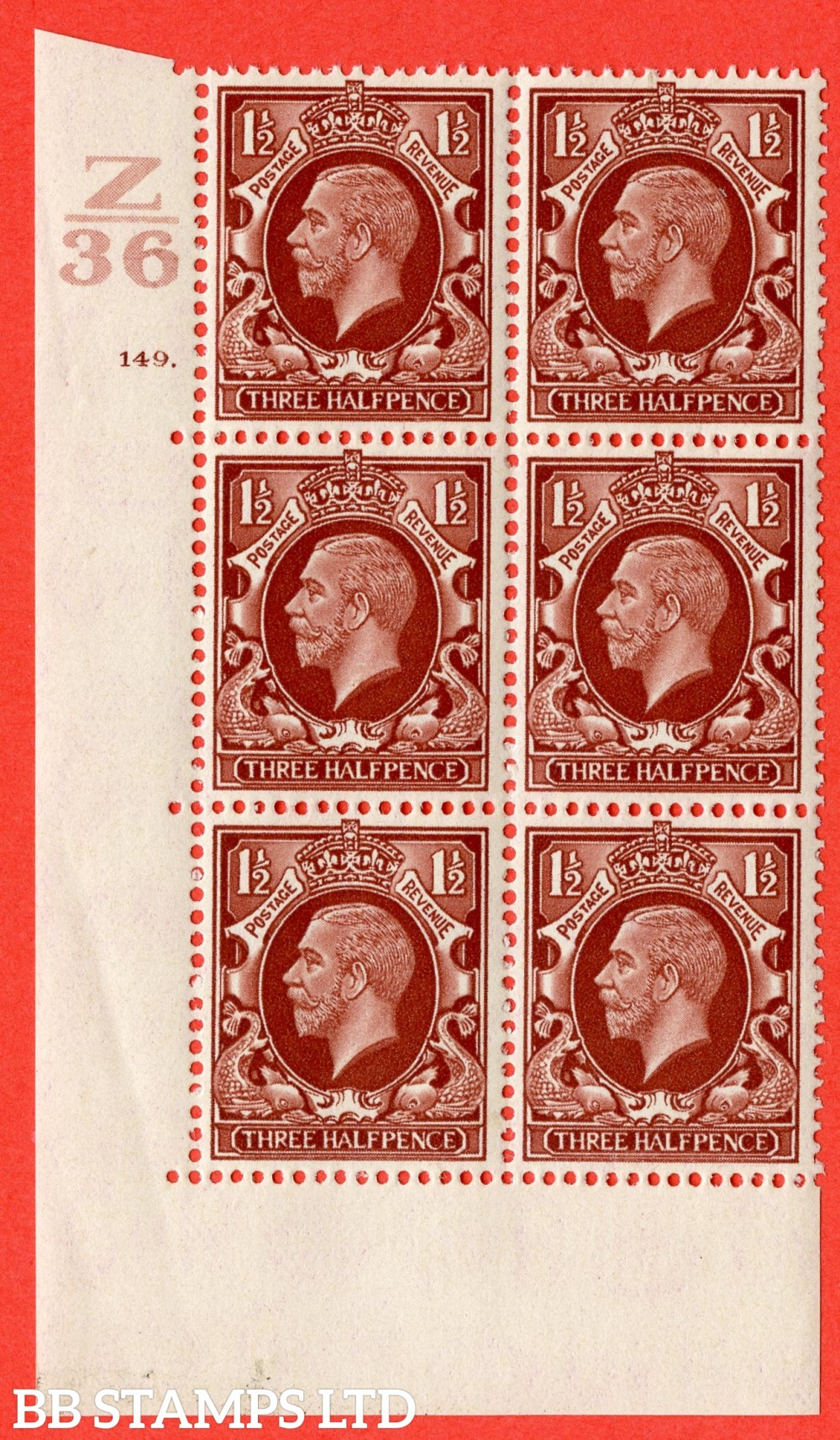 """SG. 441 variety N53. 1½d Red-Brown. A superb UNMOUNTED MINT """" Control Z36 cylinder 149 dot """" control block of 6 with perf type 5 (E/I)."""