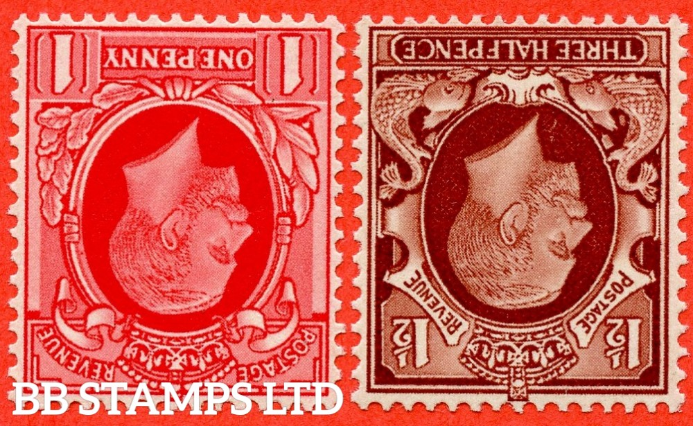 SG. 440 & 441 variety N48a - N51a. 1d & 1½d Large Format. A SUPERB UNMOUNTED MINT pair with INVERTED WATERMARK.