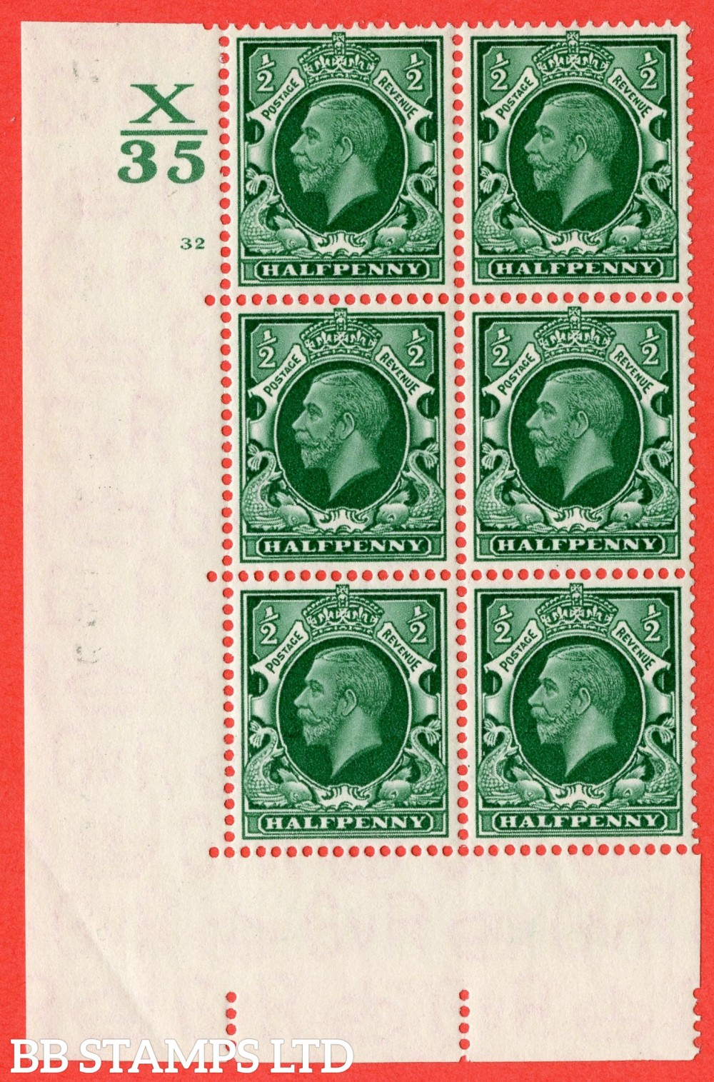 "SG. 439 variety N46 ½d. Green. A superb UNMOUNTED MINT "" Control X35 cylinder 32 no dot "" control block of 6 with perf type 5 (E/I)."