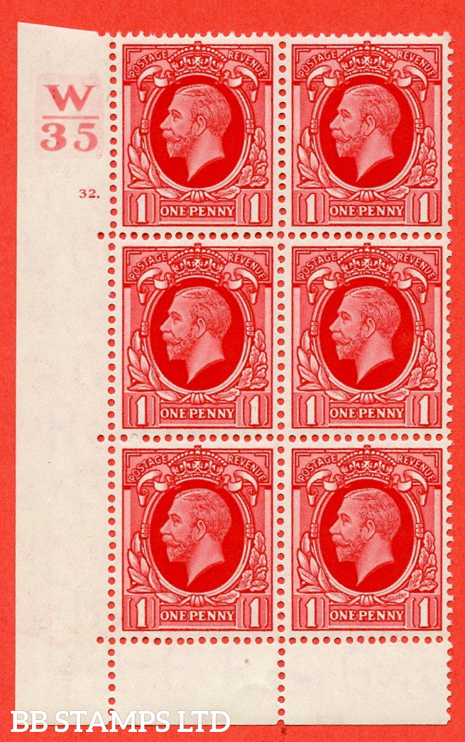 """SG. 440 N50. 1d. Scarlet. A fine lightly mounted mint """" Control W35 cylinder 32 dot """" control block of 6 with perf type 6B E/P"""
