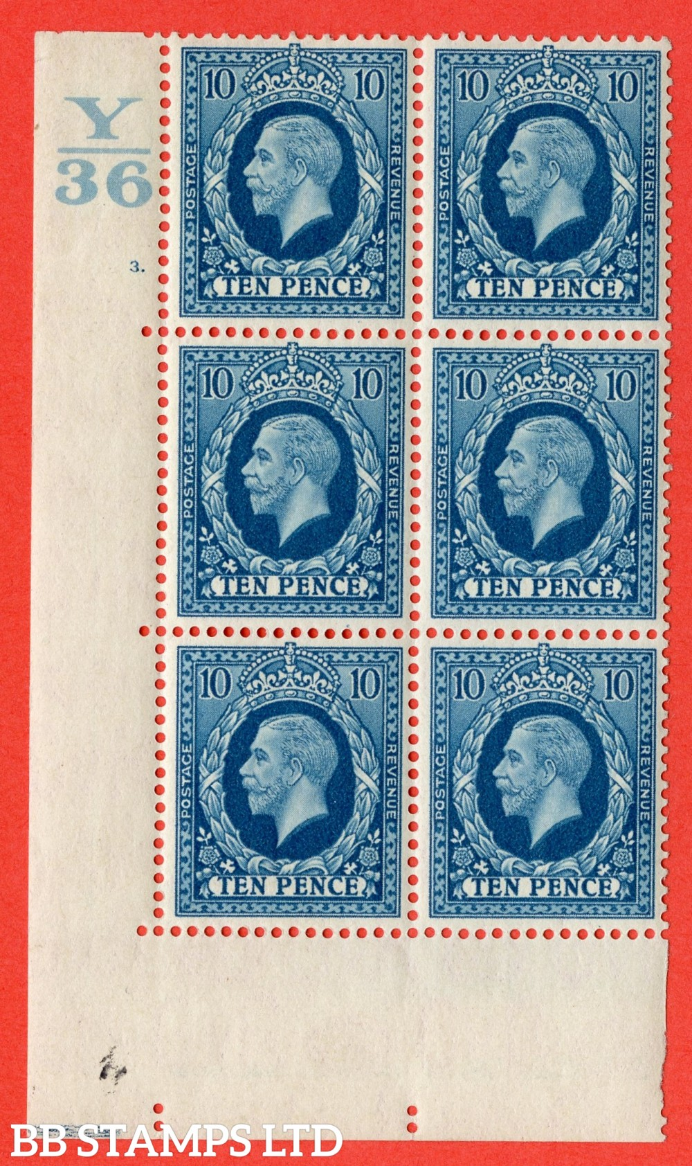 "SG. 448. N61. 10d Turquoise-Blue. A very fine mounted mint. "" Control Y36. Cylinder 3 no dot "" block of 6 perf type 5 E/I."