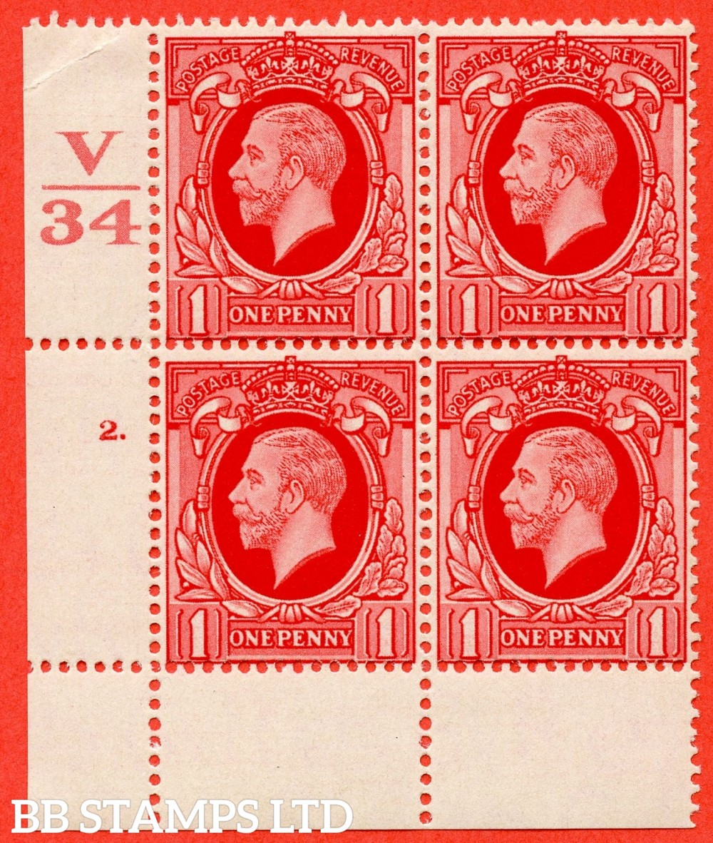 "SG. 440 variety N48. 1d scarlet.. A fine lightly mounted mint  "" Control V34 cylinder 2 dot "" block of 4 with perf type 2A (P/P)."