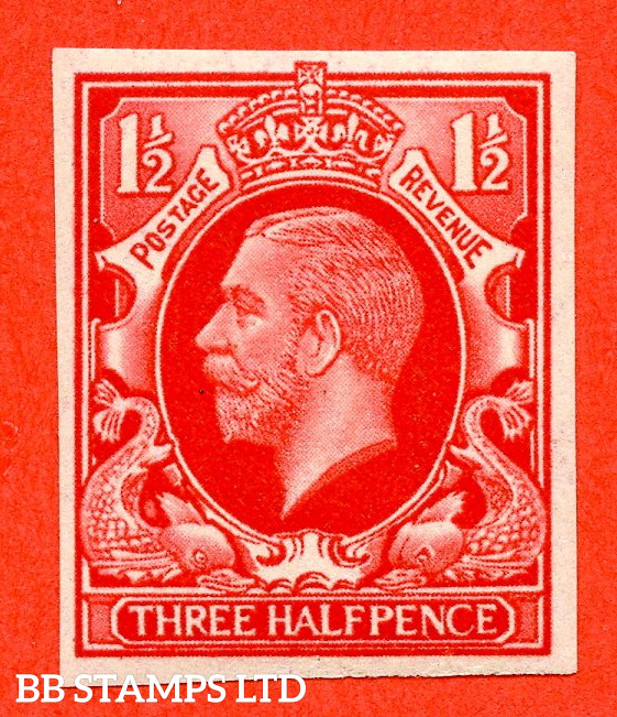 SG. 441 variety.1934 Photogravure 1½d Scarlet Colour Trial. A very fine mounted mint example.