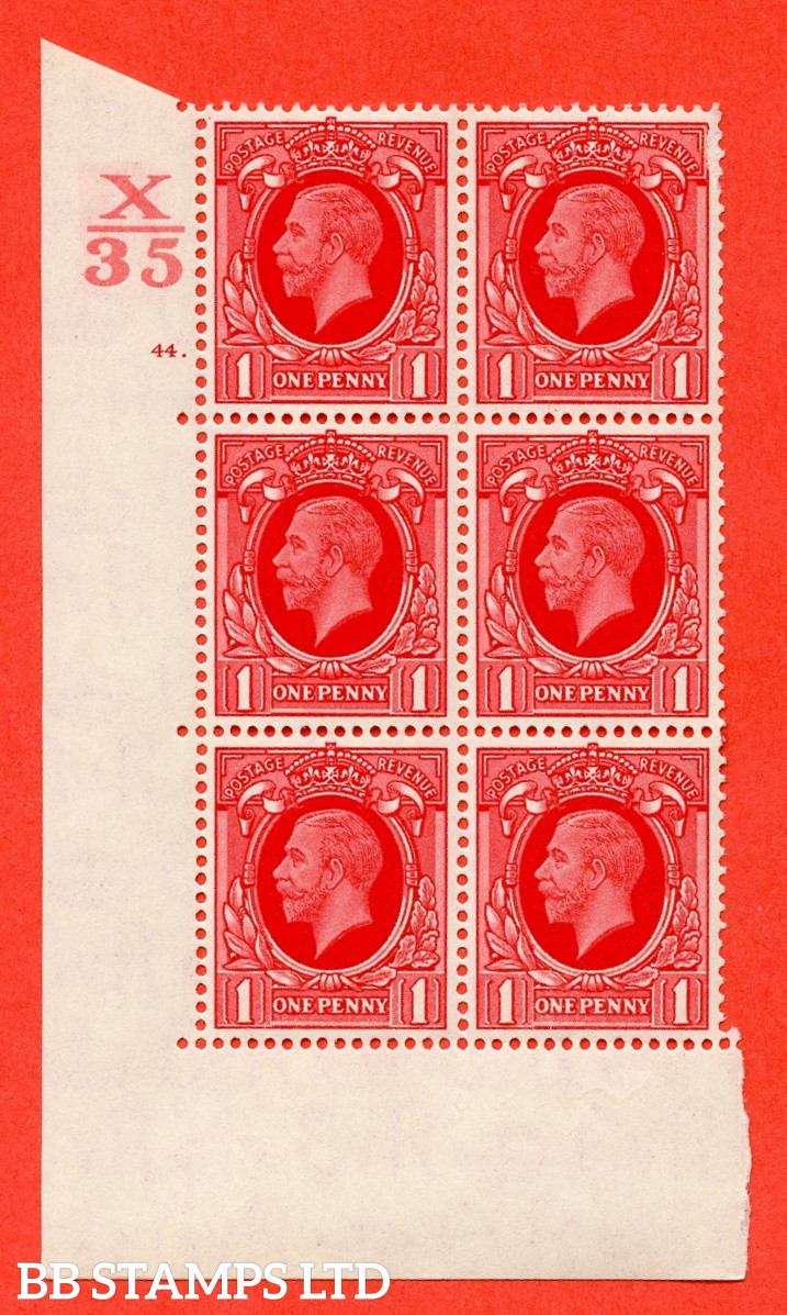 """SG. 440 N50 1d. Scarlet. A superb UNMOUNTED MINT """" Control X35 cylinder 44 dot """" control block of 6 with perf type 5 E/I"""