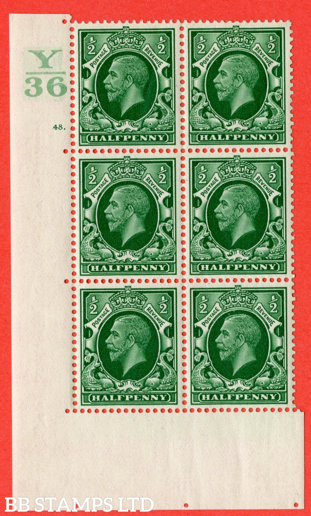 "SG. 439 variety N46 ½d. Green. A superb UNMOUNTED MINT "" Control Y36 cylinder 48 dot "" control block of 6 with perf type 5 (E/I)."