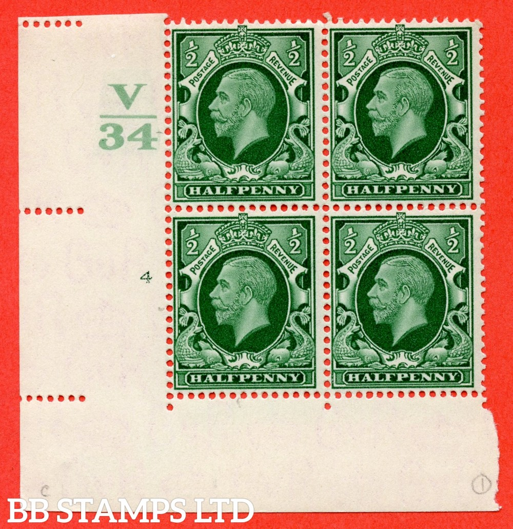 "SG. 439 variety N46 ½d. Green. A fine lightly mounted mint "" Control V34 cylinder 4 no dot "" control block of 4 with perf type 2 (I/E)."