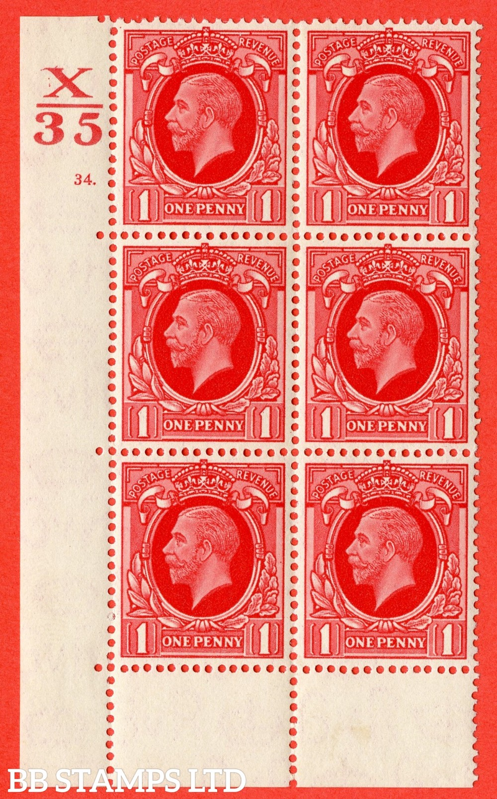 "SG. 440 variety N50. 1d scarlet.. A fine lightly mounted mint "" Control X35 cylinder 34 dot "" block of 6 with perf type 6B (E/P)."