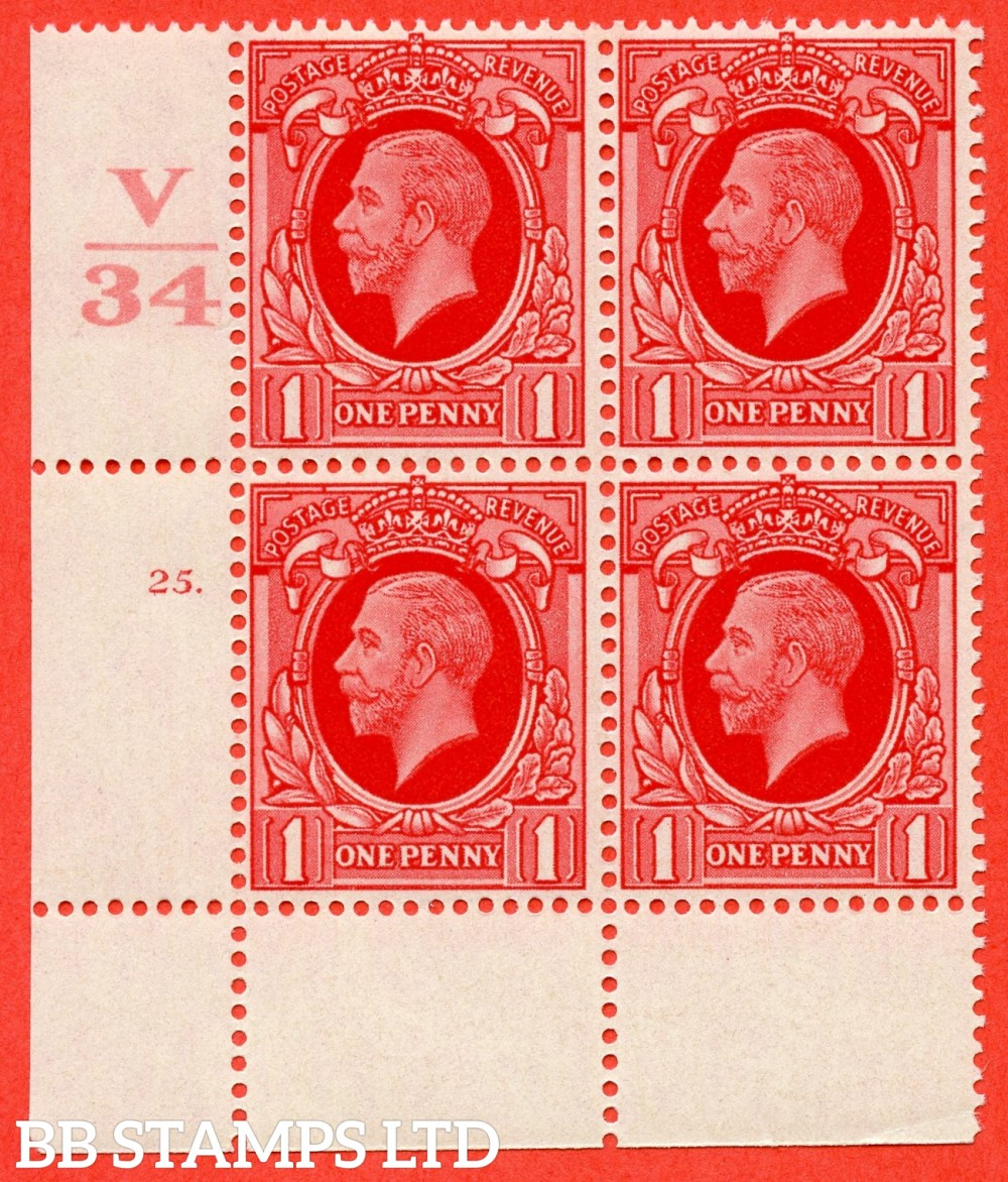 """SG. 440 variety N49. 1d scarlet.. A superb UNMOUNTED MINT """" Control V34 cylinder 25 dot """" block of 4 with perf type 2A (P/P)."""