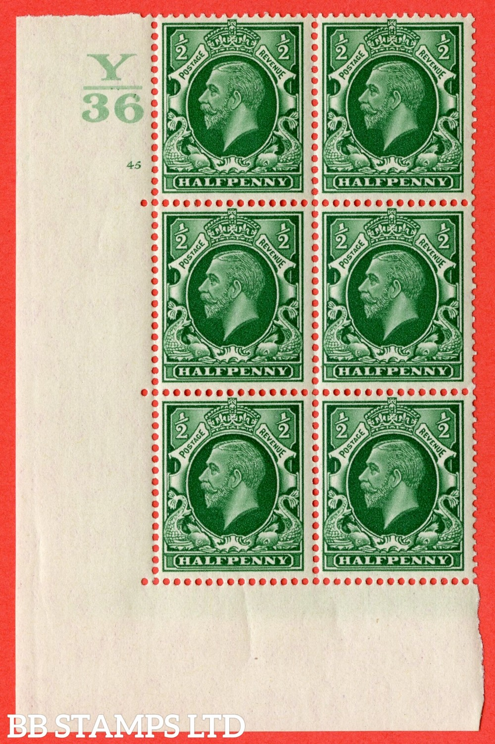 "SG. 439 variety N46 ½d. Green. A lightly mounted mint "" Control Y36 cylinder 44 no dot "" control block of 6 with perf type 5 (E/I)."