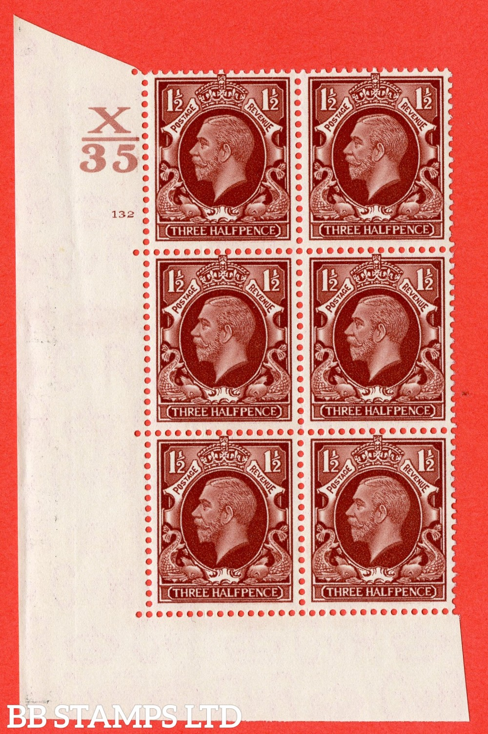 """SG. 441 variety N53. 1½d Red-Brown. A superb UNMOUNTED MINT """" Control X35 cylinder 132 no dot """" control block of 6 with perf type 5 (E/I)."""