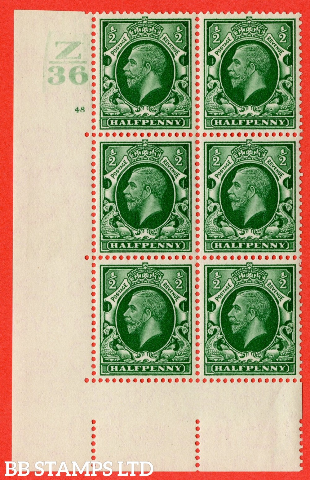 "SG. 439 variety N46 ½d. Green. A lightly mounted mint "" Control Z36 cylinder 48 no dot "" control block of 6 with perf type 5 (E/I)."