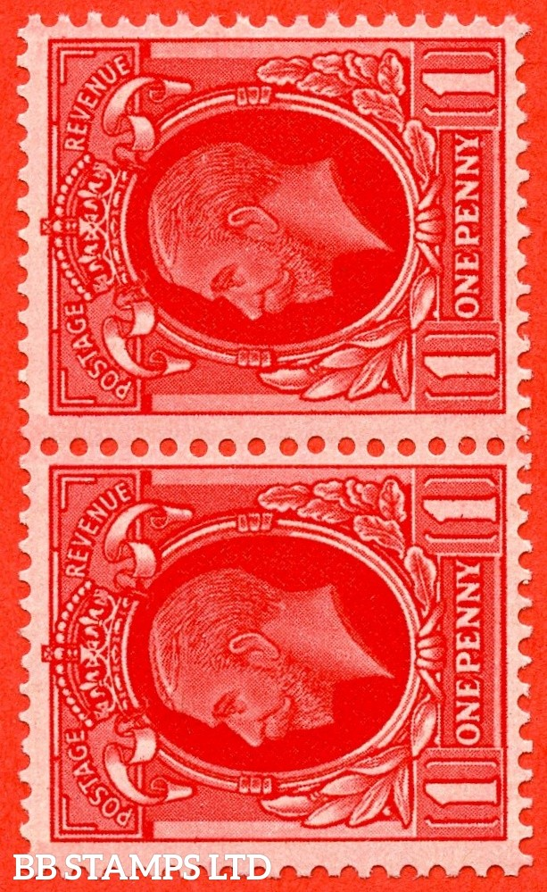 SG. 440 cwi. N50 (1) c. 1d Scarlet. A super UNMOUNTED MINT horizontal pair with the scarce Watermark SIDEWAYS INVERTED variety. A RARE multiple these days.