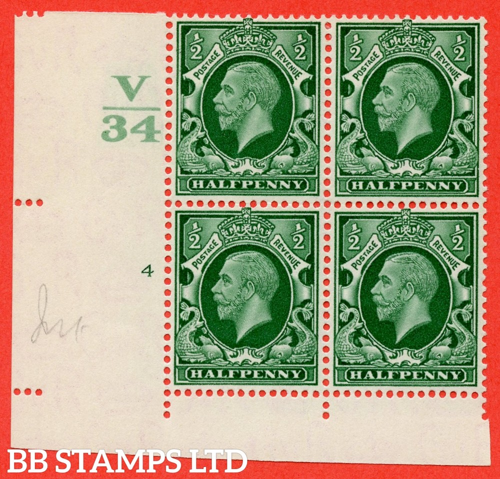"SG. 439 variety N46 ½d. Green. A fine lightly mounted mint "" Control V34 cylinder 4 dot "" control block of 4 with perf type 4 (I/2E)."