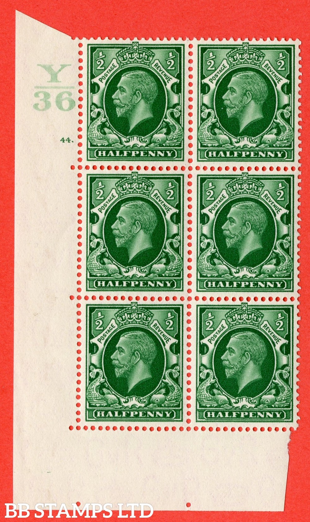 "SG. 439 variety N46 ½d. Green. A superb UNMOUNTED MINT "" Control Y36 cylinder 44 dot "" control block of 6 with perf type 5 (E/I)."