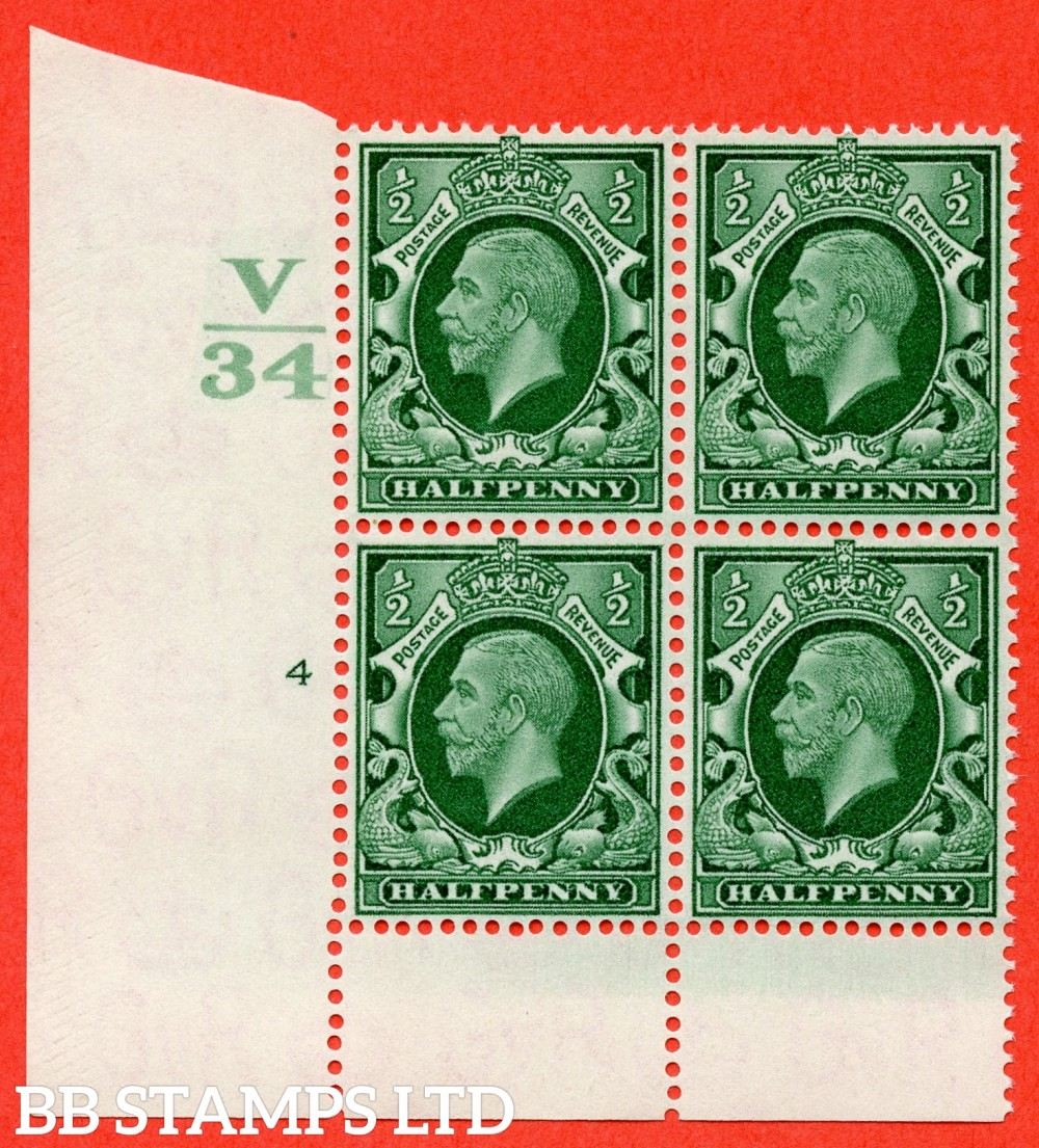 "SG. 439 variety N46 ½d. Green. A superb UNMOUNTED MINT "" Control V34 cylinder 4 no dot "" control block of 4 with perf type 6 (I/P)."