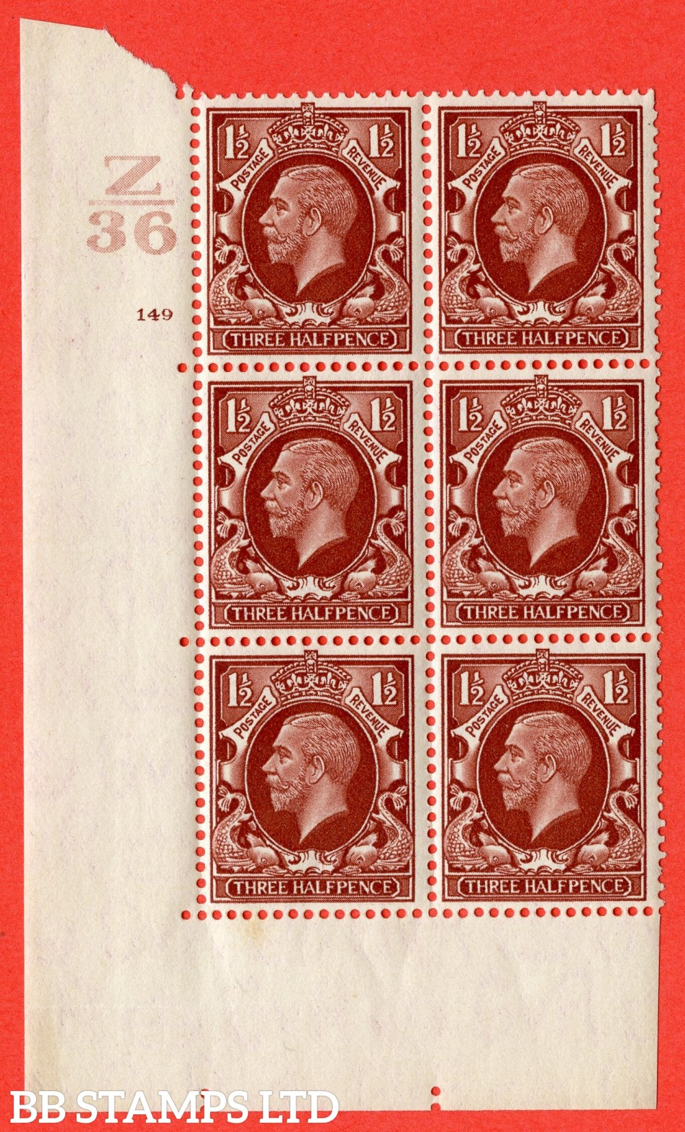 """SG. 441 variety N53. 1½d Red-Brown. A superb UNMOUNTED MINT """" Control Z36 cylinder 149 no dot """" control block of 6 with perf type 5 (E/I)."""