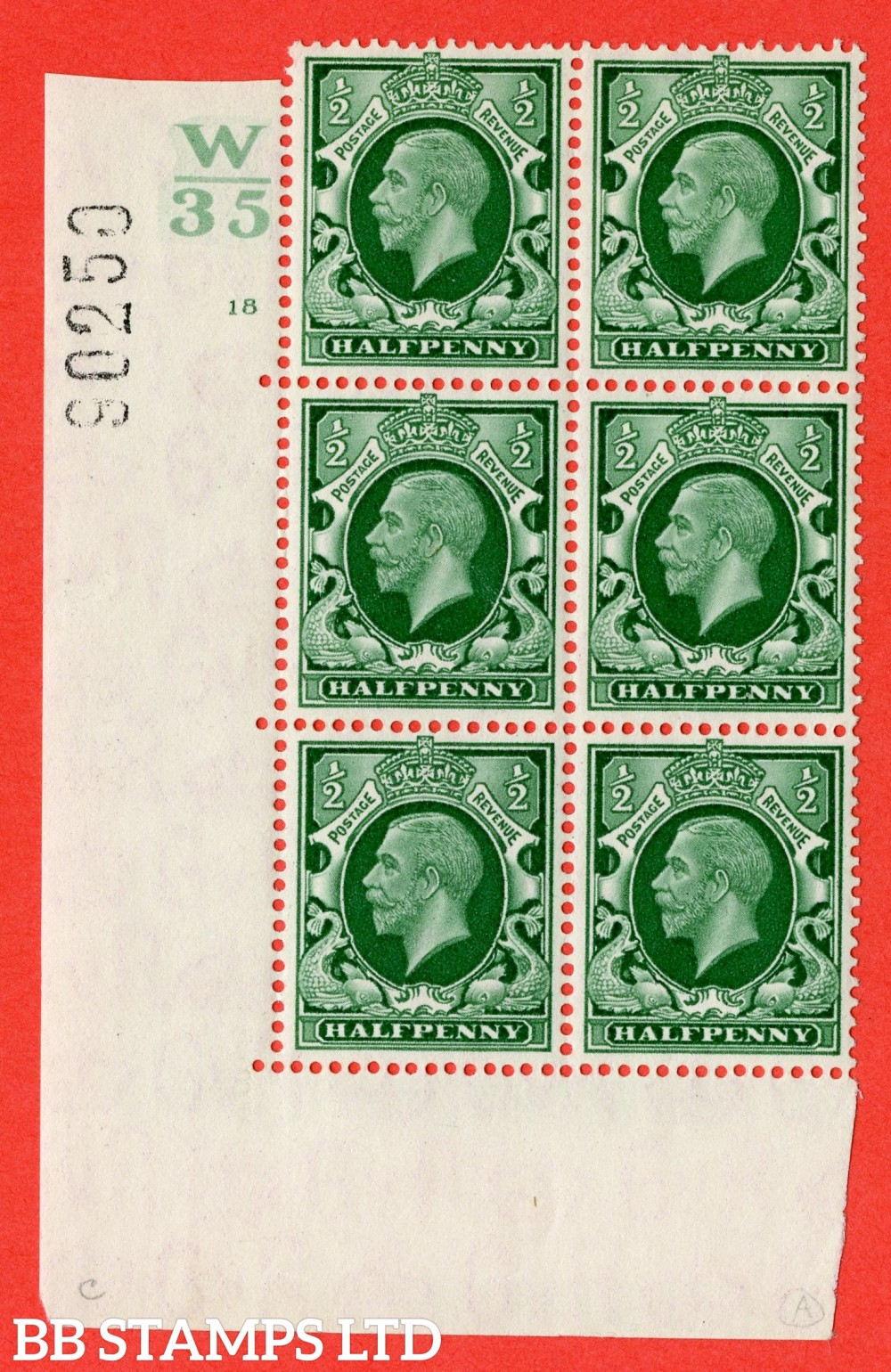 "SG. 439 variety N46 ½d. Green. A fine lightly mounted mint "" Control W35 cylinder 18 no dot "" control block of 6 with perf type 5 (I/E)."