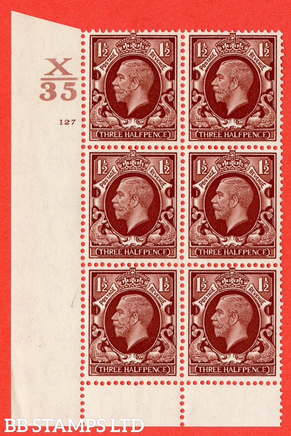 "SG. 441 variety N53. 1½d Red-Brown. A superb UNMOUNTED MINT "" Control X35 cylinder 127 no dot "" control block of 6 with perf type 6 (I/P)."